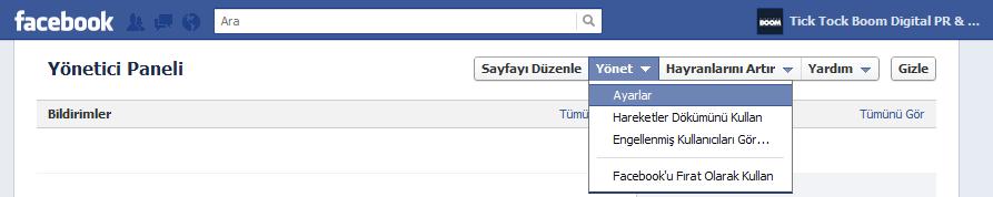Facebook Sayfa Yönetim Paneli