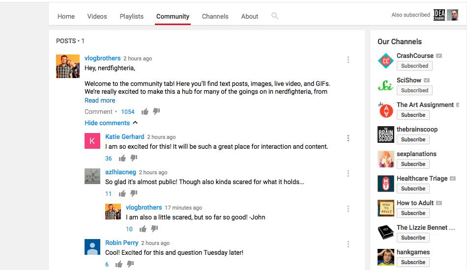 youtube-community-sekme